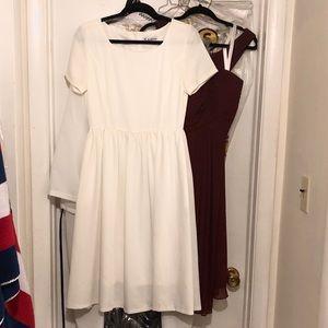 Her Velvet Vase Simple White Dress